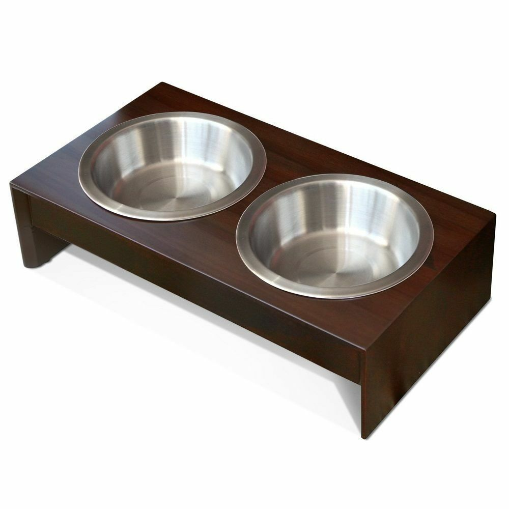 Dog Elevated Feeder Small Wood Food Dish Double Raised