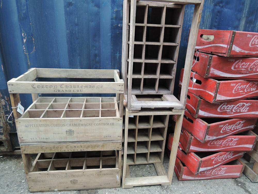 Vintage rustic wood wine crates decorative storage for 15 bottles ebay - Decorative wooden crates ...
