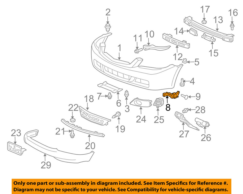 2004 Acura Tsx Parts Diagram Example Electrical Wiring 93 94 95 Honda Del Sol Oem Interior Fuse Box Autopartone 04 08 Front Bumper Spacer Support Rsx Replacement