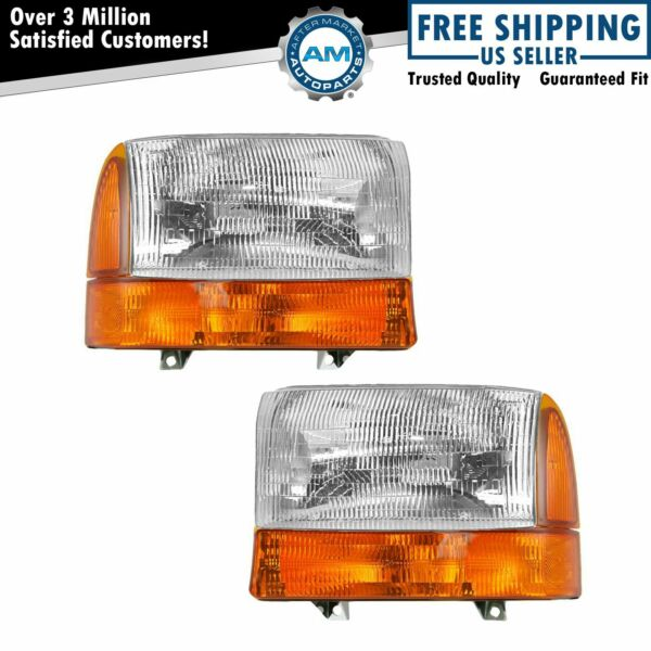 Headlights Lamp Corner Turn Signal Left & Right Set for Ford F250 F350 Excursion