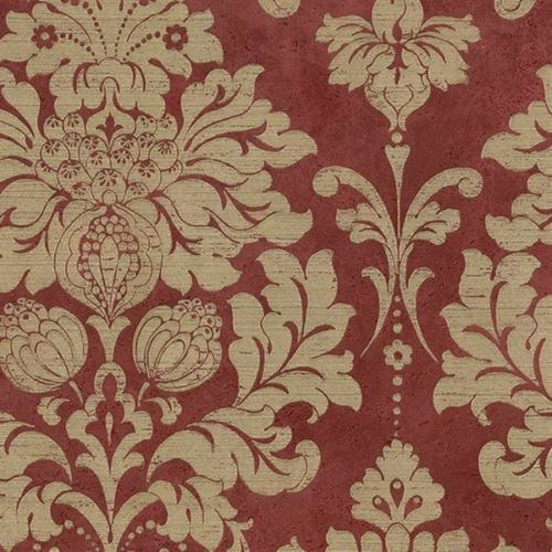 Victorian Damask In Dark Red And Gold Wallpaper Md29421