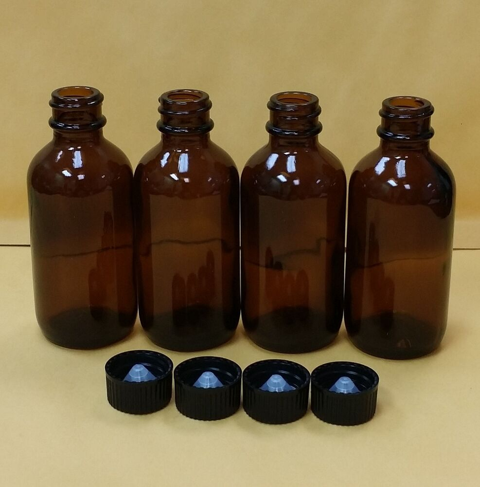 4 Pcs Amber 2 Oz 60 Ml Clear Boston Round Glass Bottles