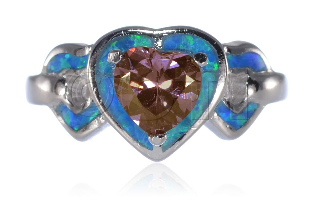 Heart Love Alexandrite Cz Wedding Engagement Blue Opal