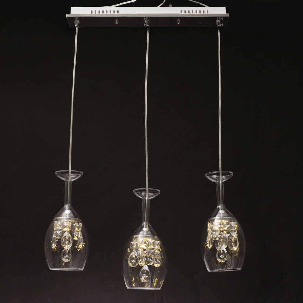 New Modern Hot 3 Pcs Glass Wine Cup Chandeliers Ceiling