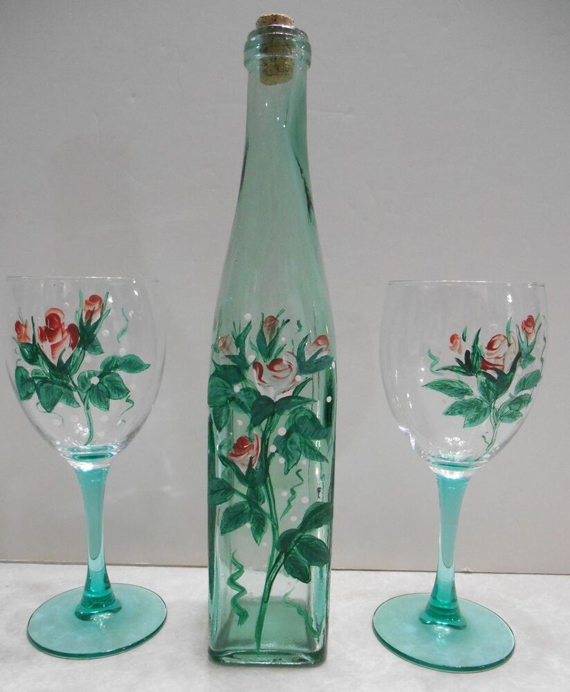 beautiful decorative pair of handpainted floral wine glasses and wine bottle ebay. Black Bedroom Furniture Sets. Home Design Ideas