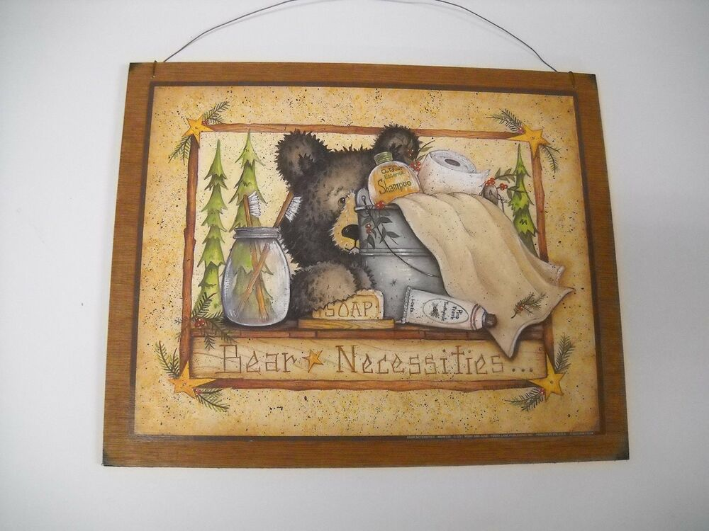 Bear necessities wooden country bathroom wall art sign for Wood bathroom wall decor
