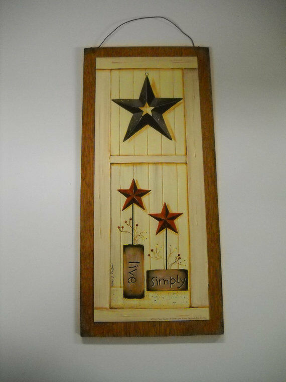 Live simply country wooden wall art sign barn stars and for Live simply wall art