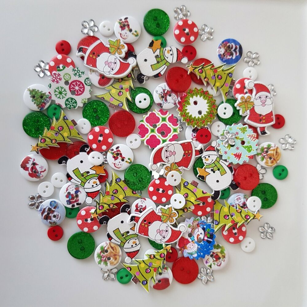 100 NEW CHRISTMAS XMAS BUTTONS EMBELLISHMENT CARD MAKING