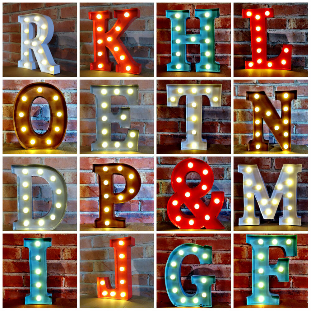 light up letters sign metal led 12 quot marquee letter lights vintage circus style 17487 | s l1000