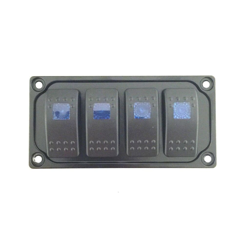 custom black rocker switch dash panel plate kit universal 4 free switches ebay. Black Bedroom Furniture Sets. Home Design Ideas