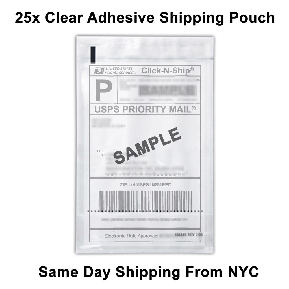 25 Self Adhesive Clear Mailing Shipping Label Pouch
