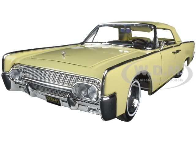 1961 lincoln continental yellow 1 18 diecast model car by road signature 20088 ebay. Black Bedroom Furniture Sets. Home Design Ideas