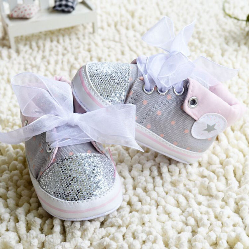 Toddler Baby Girl Gray Crib Shoes Soft Sole casual shoes