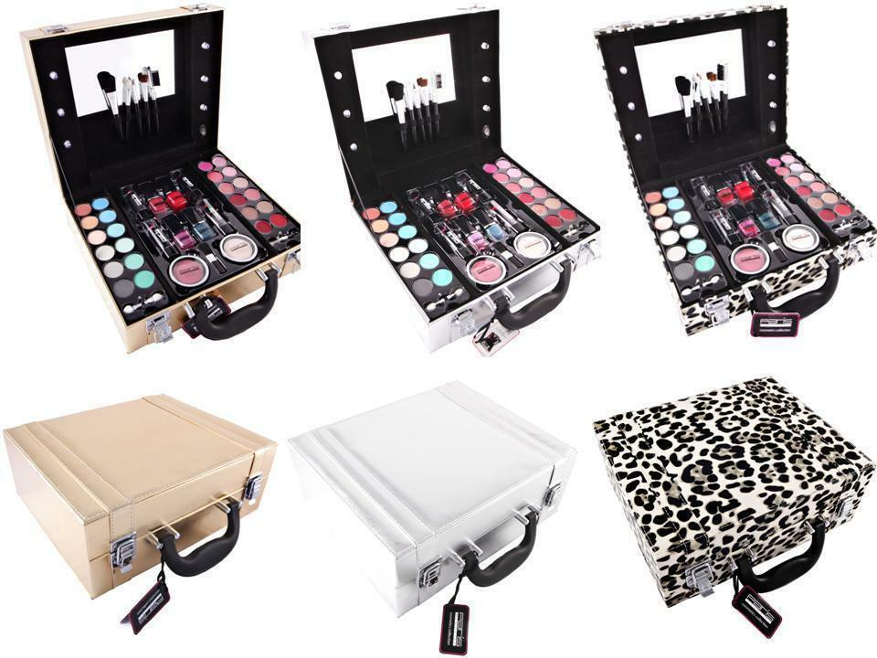 Make up Vanity Box Case Contouring Beauty Kit Gift Set Mirror & Light Storage eBay