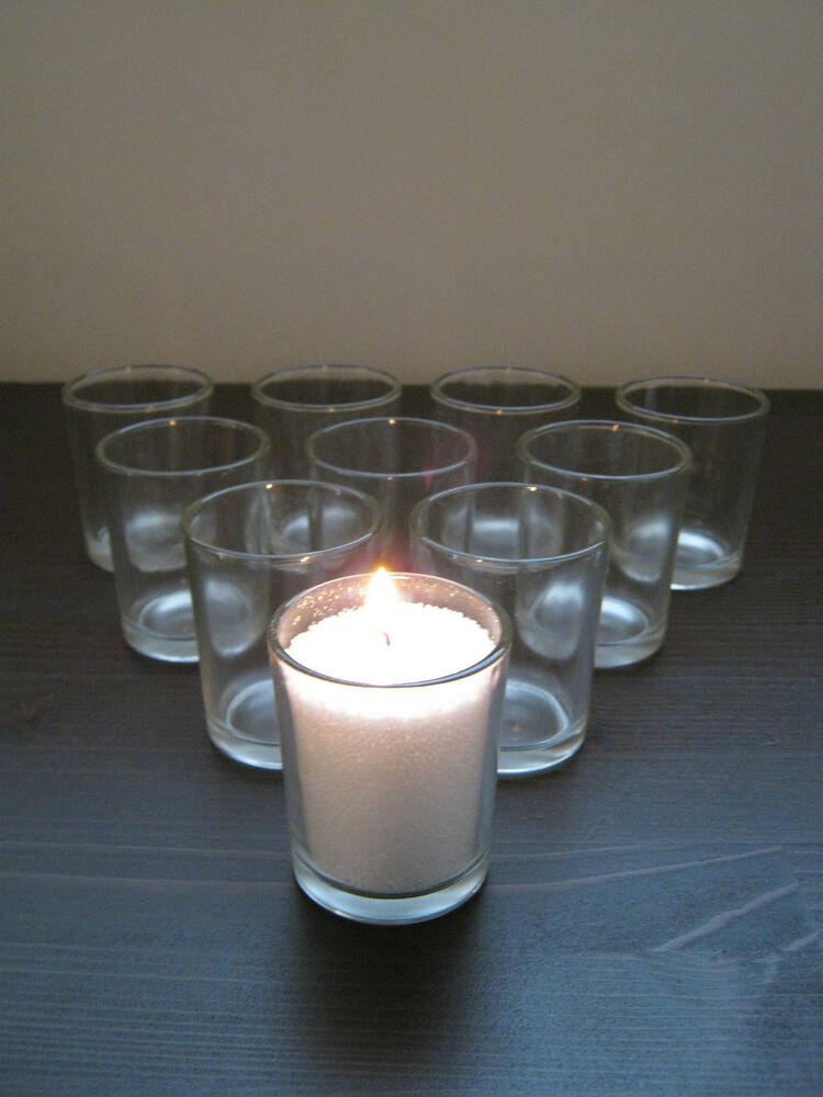 10 pk beautiful clear glass votive tea light candle holders wedding table party ebay. Black Bedroom Furniture Sets. Home Design Ideas