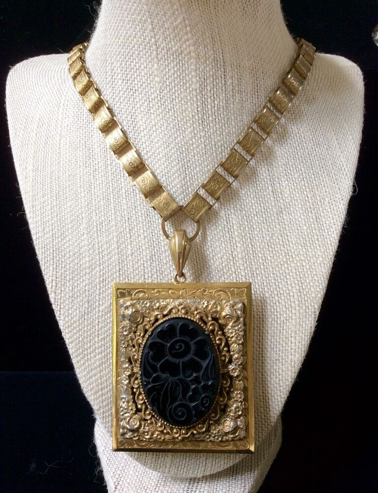 Edwardian Brass Book Chain Large Locket Necklace Rare Over