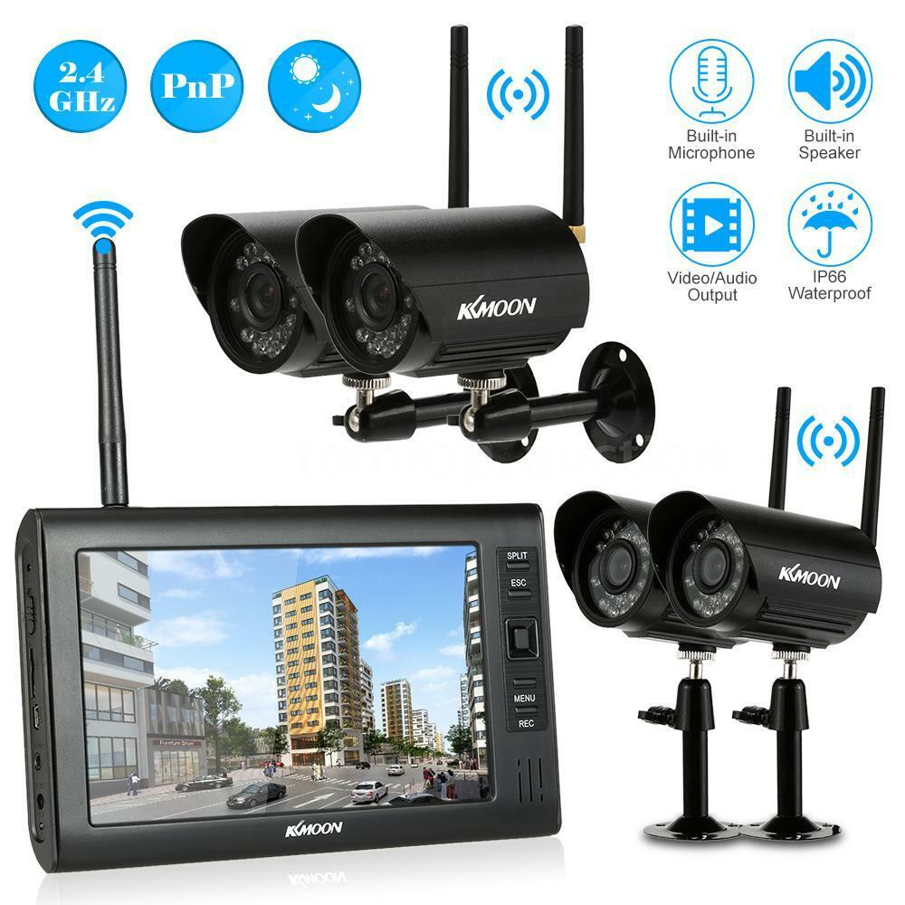 wireless dvr security system w 7 inch lcd monitor 4. Black Bedroom Furniture Sets. Home Design Ideas