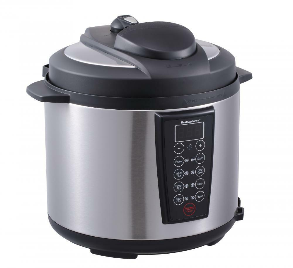 electric pressure cooker black 1000 watt 6 quart electric pressure cooker brushed 31524