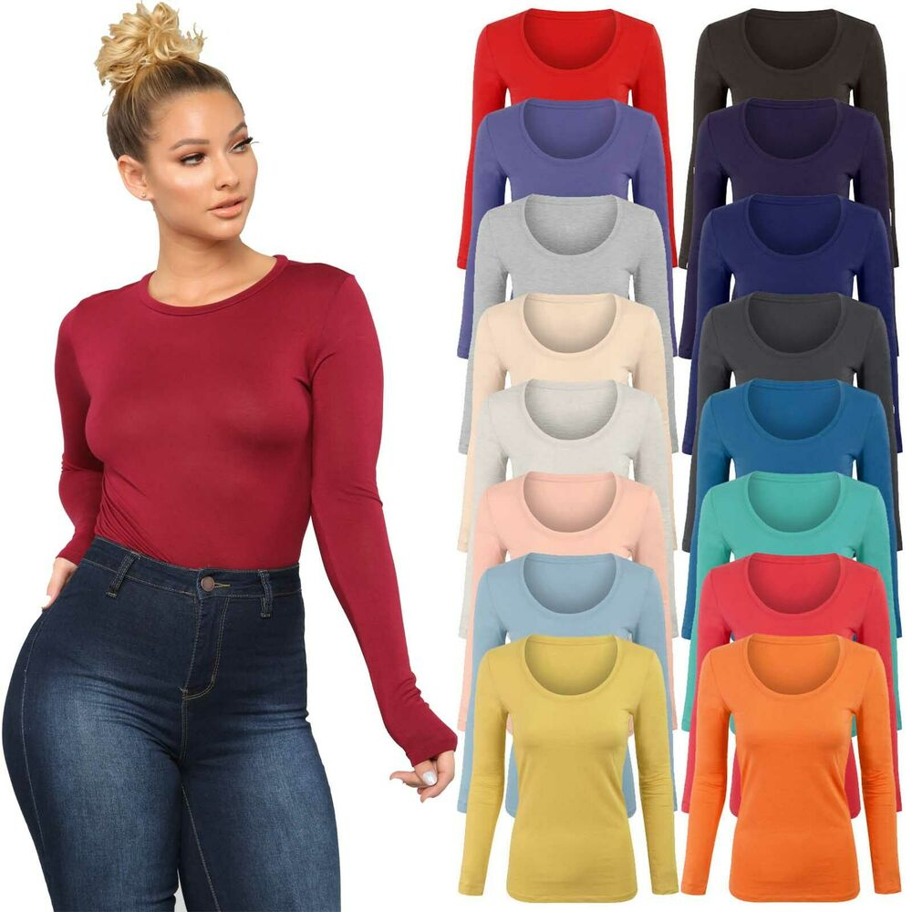 Womens long sleeve stretch plain round scoop neck t shirt for Long sleeve fitted tee shirt