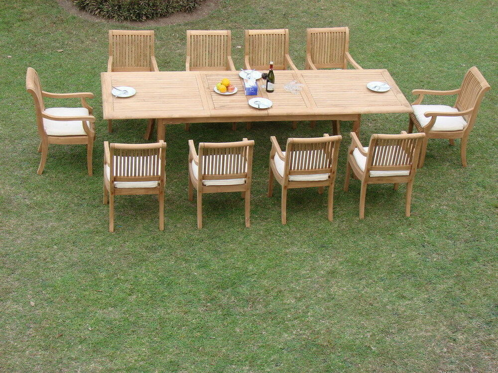 11 PC TEAK SET GARDEN OUTDOOR PATIO FURNITURE POOL S1