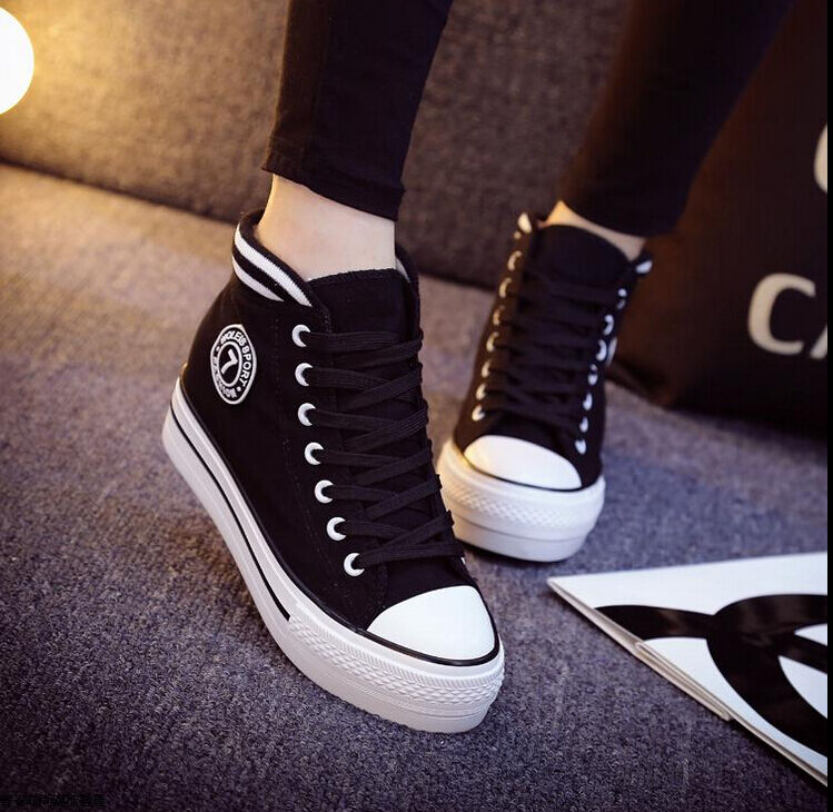 2015 new korean women 39 s high top lace up platform casual canvas sneakers shoes ebay Korean fashion style shoes