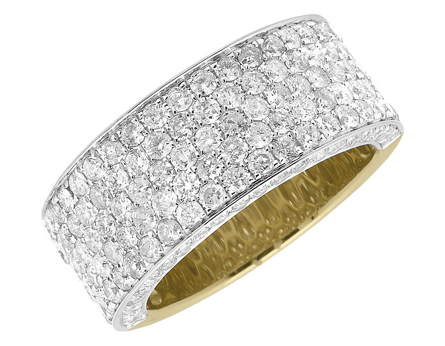 Ladies 10k yellow gold 3d round pave diamond engagement for Pave wedding rings