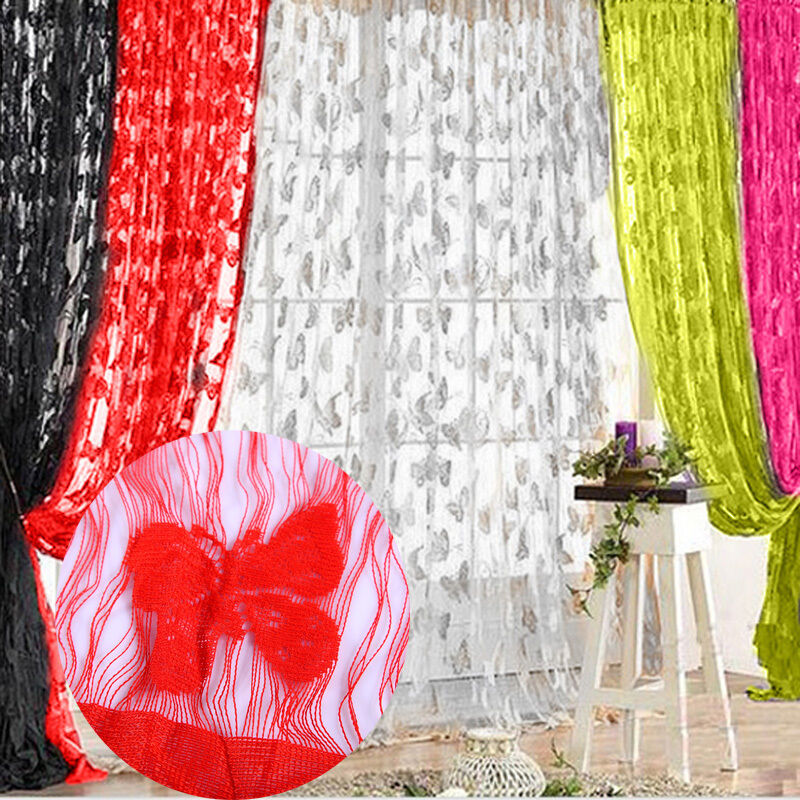 Butterfly Sheer Curtain Window Door Panel Curtain Room Divider Voile ...