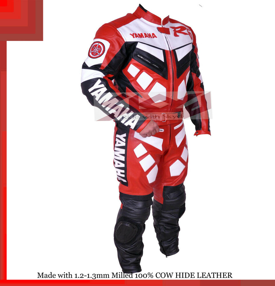 Yamaha r1 r6 red racing leather motorcycle full suit for Yamaha r1 motorcycle jackets
