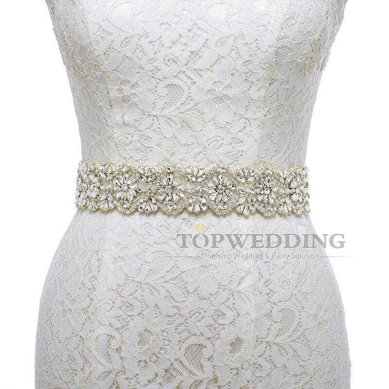 2015 satin bridal sash wedding dress belt with rhinestone for Ivory wedding dress sash