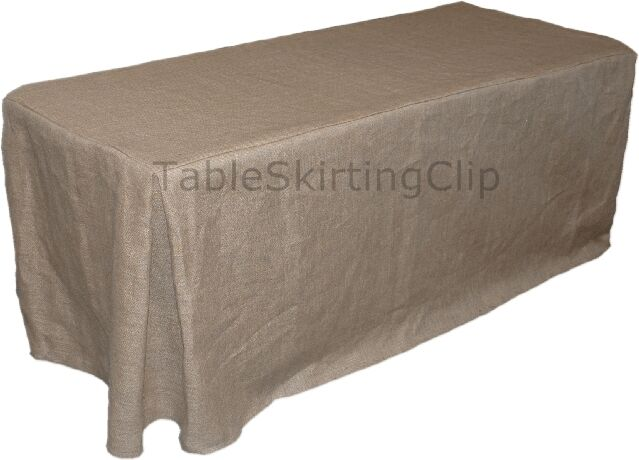 8 foot jute burlap fitted tablecloth w pleated corners jute tablecloths ebay. Black Bedroom Furniture Sets. Home Design Ideas