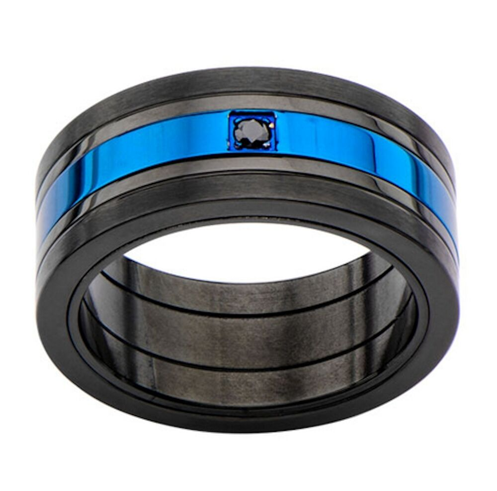 Inox Jewelry Mens Stainless Steel Black And Blue Ring With