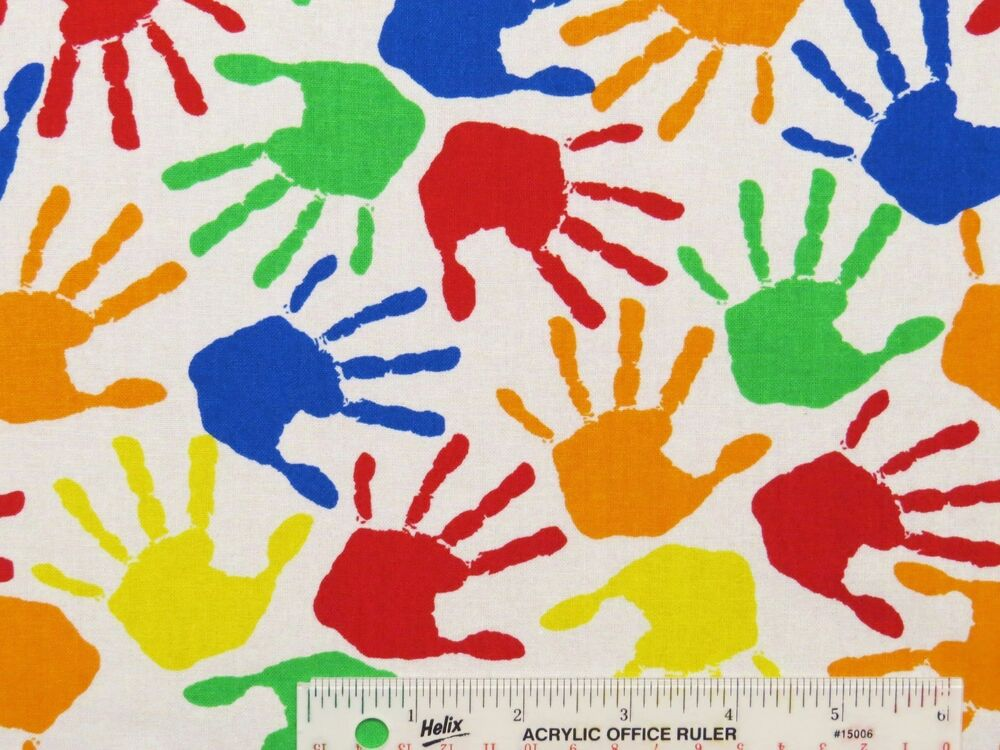 Back to school hand prints toss children kids colors for Kids cotton fabric