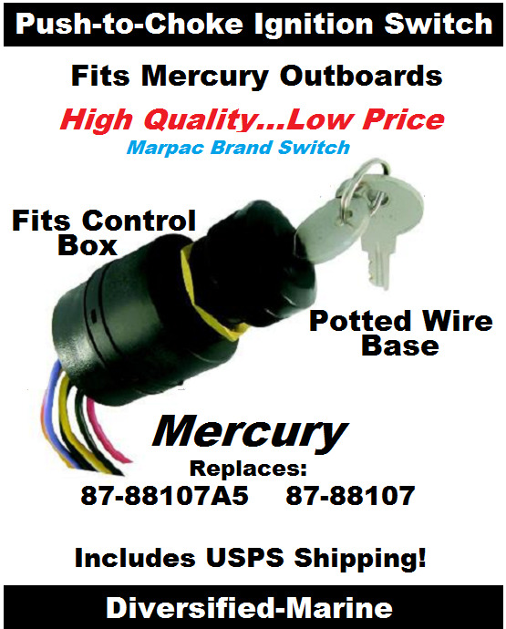 mercury ignition switch mercury push to choke ignition switch replaces 87 88107 87 88107a5 potted wires