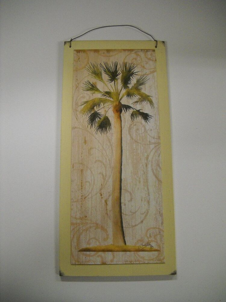Palm tree tropical wooden wall art sign wood beach decor for Palm tree decorations for the home