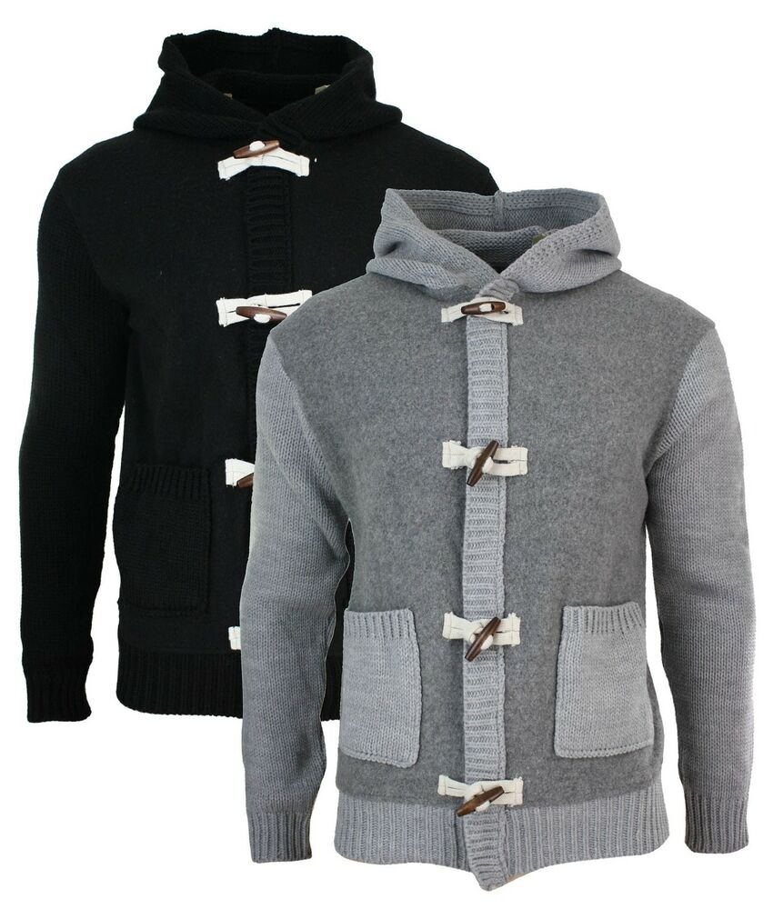 Mens Slim Fit Zip & Toggle Hooded Cardigan Jumper Knitted ...