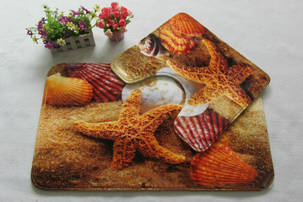 Starfish Print Bath Mat Set 2 piece Toilet Rug Bathroom ...