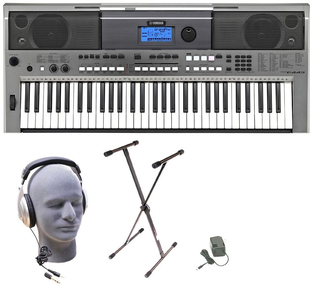 yamaha psre443 lighted 61 keys digital keyboard stand adapter headphones ebay. Black Bedroom Furniture Sets. Home Design Ideas