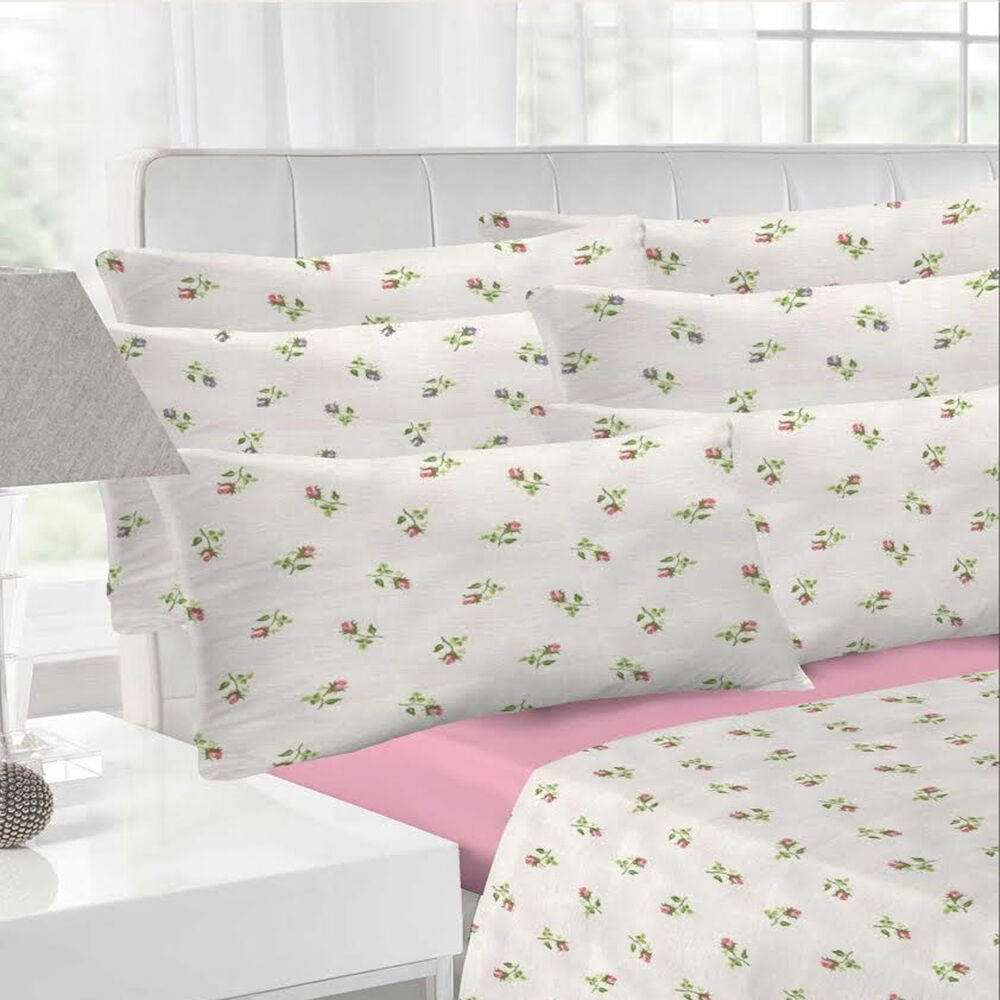 Rosebud flannelette white pink sheet set bedding fitted How to put a fitted sheet on a bed