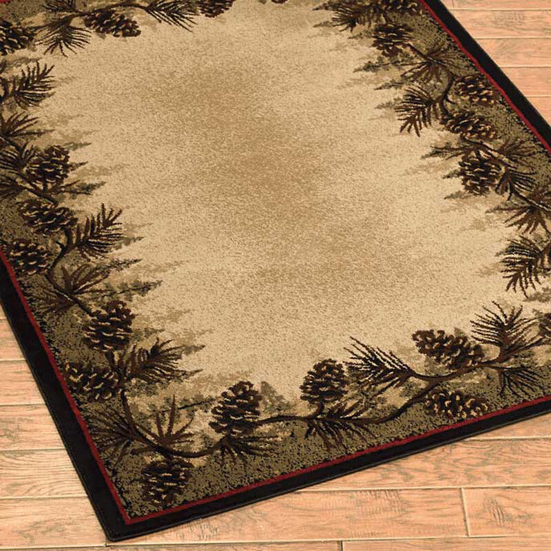 Pinecone Forest Border Cabin Rug 2x3 2x8 Runner 4x6 5x8