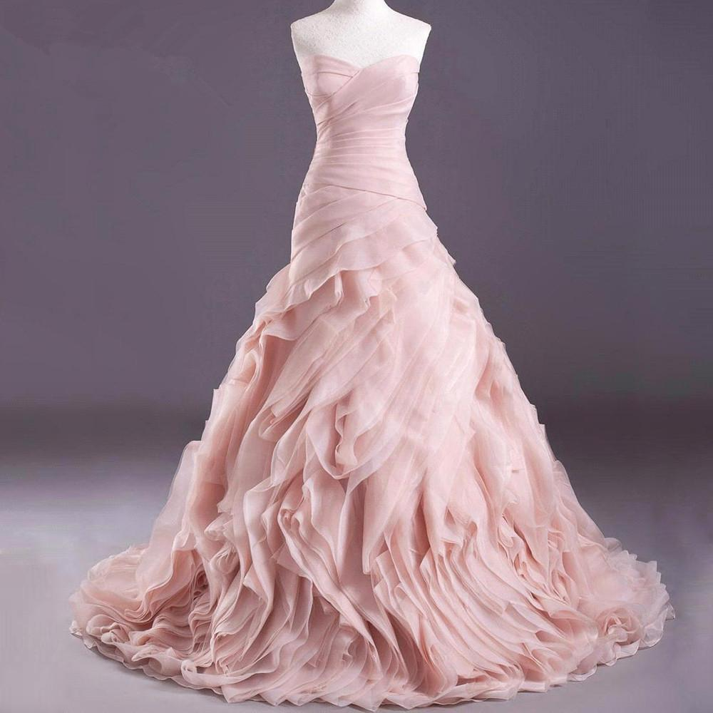 Wedding Gowns In Pink: High Quality Real Blush Pink Wedding Dresses 2016 Organza