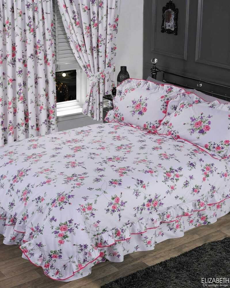 Double Bed Frilled Duvet Cover Set Floral White Blue Pink
