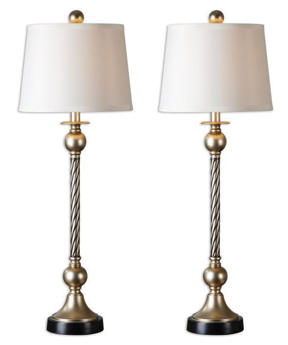 Set 2 Twisted Rope Table Lamp Antique Silver Pair Column