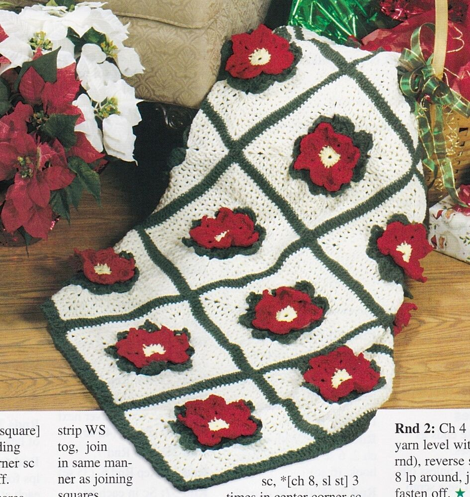 PRETTY Christmas Poinsettia Afghan/Crochet Pattern INSTRUCTIONS ONLY ...
