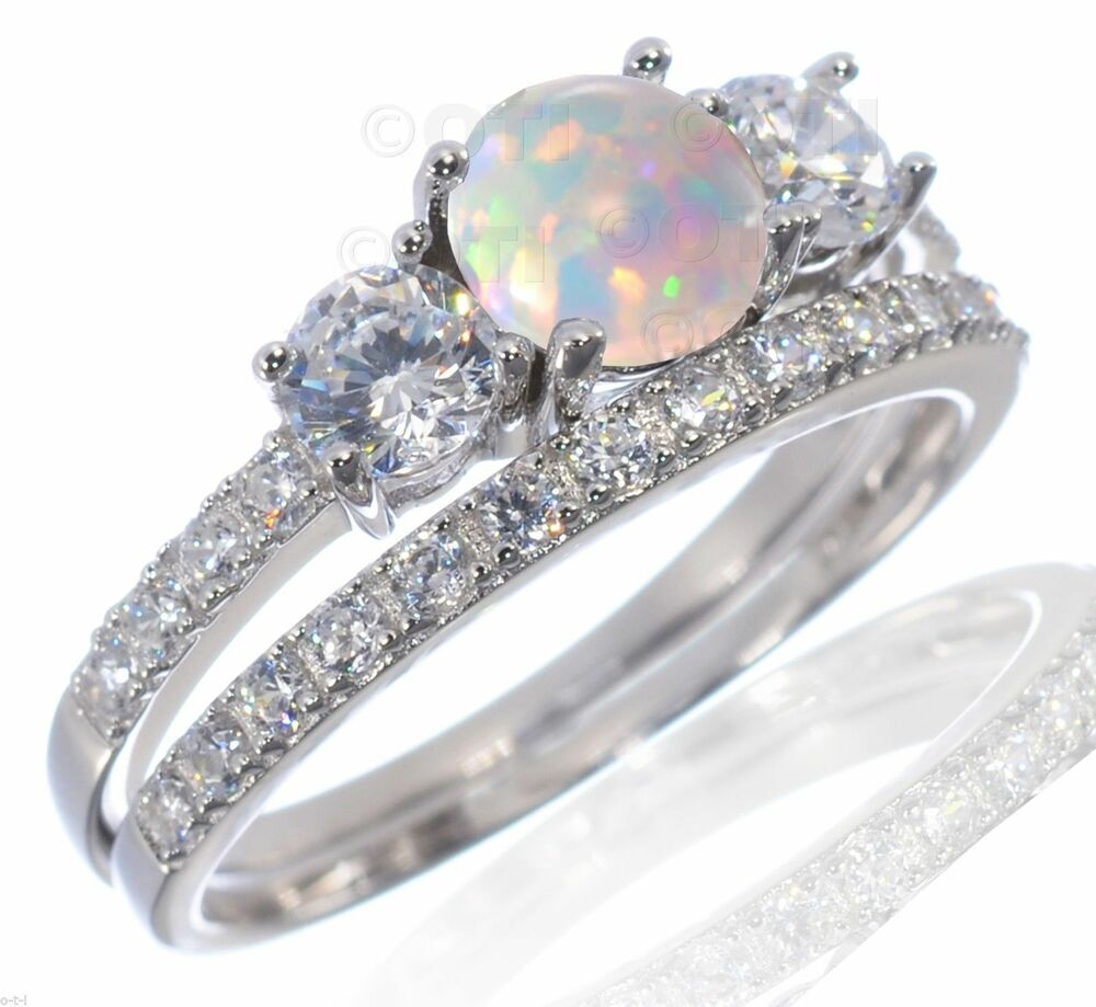 Round White Fire Opal Engagement Wedding CZ Sterling Silver Ring Set 4 12