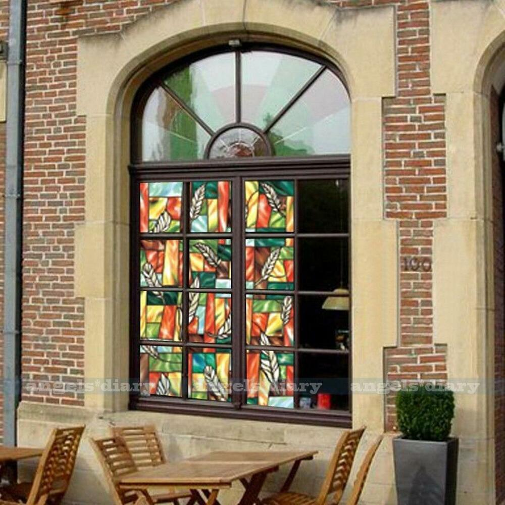 western feather removable stained glass decorative privacy window film 45cm 1 5m ebay. Black Bedroom Furniture Sets. Home Design Ideas