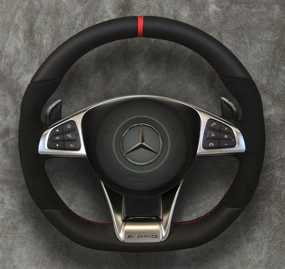 2015 mercedes benz amg steering wheel air ag alcantara red for Mercedes benz steering wheel cover