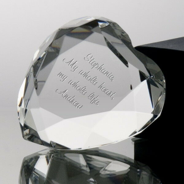 Crystal Wedding Anniversary Gift: Personalised Engraved Crystal Heart Glass Paperweight 15th