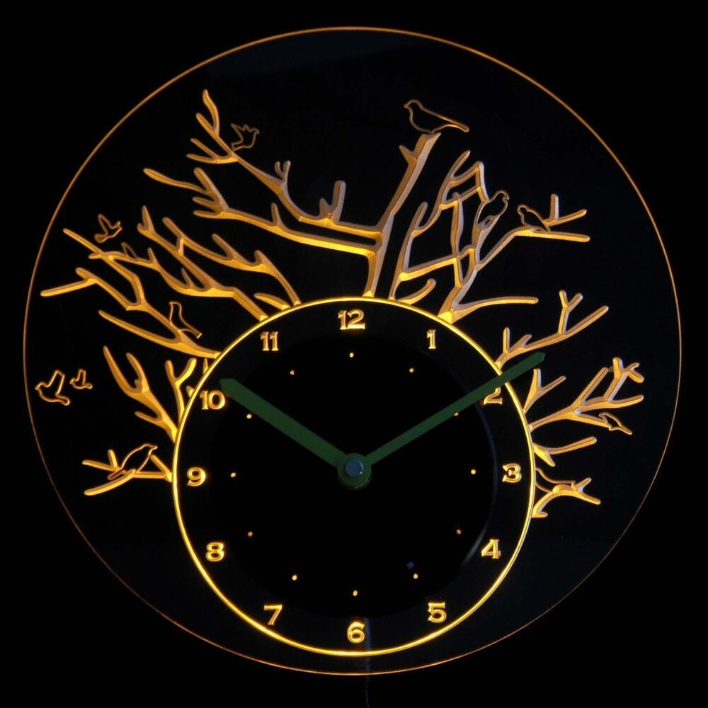 Cnc2017 y birds with tree illuminated wall neon clock sign led night light ebay - Digital illuminated wall clocks ...