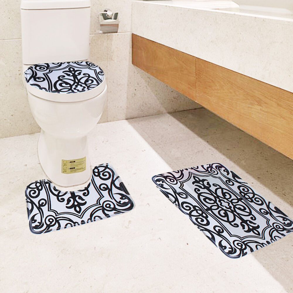 Black and white bath mat set 3 piece toilet rug bathroom for Black white bathroom set