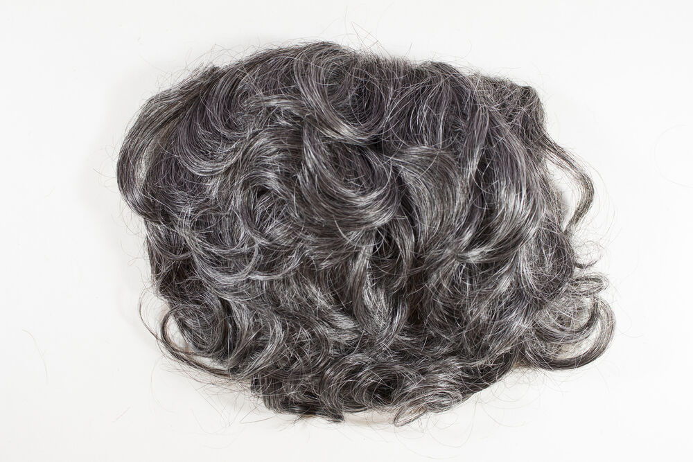 Dark Brown with 50% Grey Grey Short Wavy Curly Wiglet 5.5X8 Hair Pieces | eBay